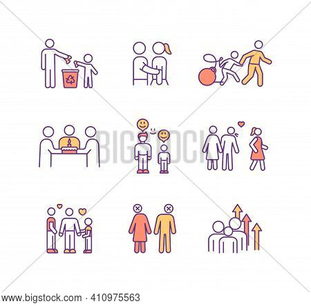 Family Relationship Rgb Color Icons Set. Emotional Support. Parent-child Bond. Strengthening Family