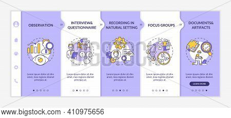 Using Sources Of Data Onboarding Vector Template. Responsive Mobile Website With Icons. Method Of Qu