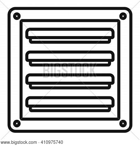Metal Ventilation Icon. Outline Metal Ventilation Vector Icon For Web Design Isolated On White Backg