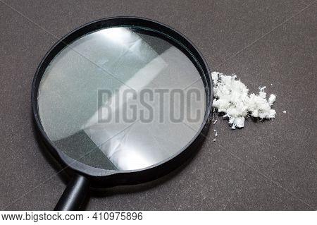 Hazardous Mineral Asbestos Close Up On Black Background. Black Background.