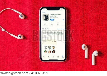 Minsk, Belarus, March 2, 2021: Clubhouse Drop-in Audio Chat Application View On Smartphone Screen An