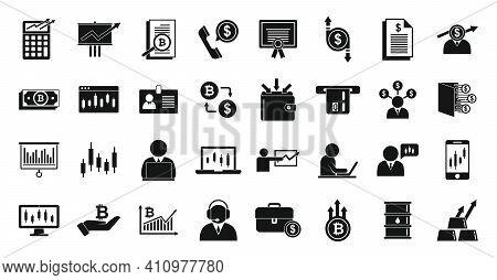 Trader Desk Icons Set. Simple Set Of Trader Desk Vector Icons For Web Design On White Background
