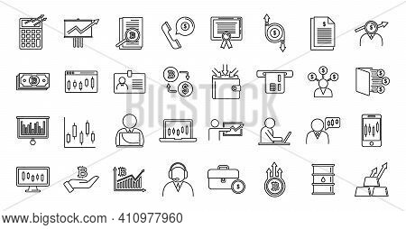 Trader Icons Set. Outline Set Of Trader Vector Icons For Web Design Isolated On White Background