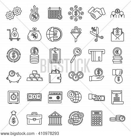 Credit Union Bank Icons Set. Outline Set Of Credit Union Bank Vector Icons For Web Design Isolated O