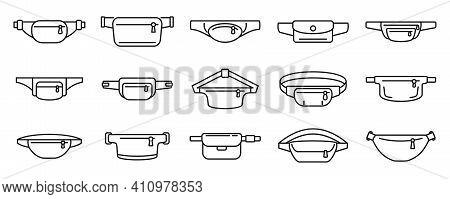 Fashion Waist Bag Icons Set. Outline Set Of Fashion Waist Bag Vector Icons For Web Design Isolated O