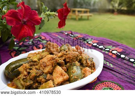 Food Authenthic Indiand Village Style Gujarati Dish Surti Undhiyu. Mixed Vegetable Item Coked With S