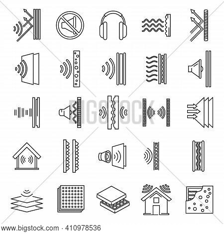 Studio Soundproofing Icons Set. Outline Set Of Studio Soundproofing Vector Icons For Web Design Isol