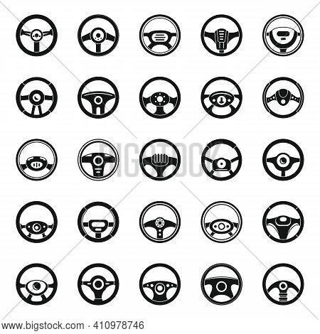 Car Steering Wheel Icons Set. Simple Set Of Car Steering Wheel Vector Icons For Web Design On White