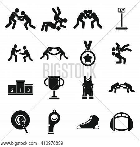 Greco-roman Wrestling Icons Set. Simple Set Of Greco-roman Wrestling Vector Icons For Web Design On