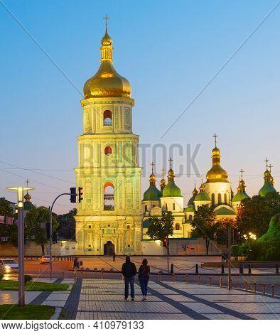Sofiivska Square And Famous Saint Sophia's Cathedral. Kiev, Ukraine