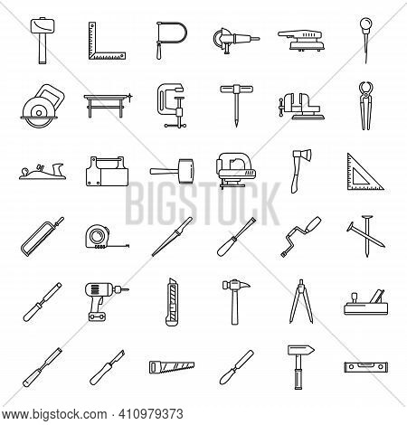 Work Carpenter Tools Icons Set. Outline Set Of Work Carpenter Tools Vector Icons For Web Design Isol