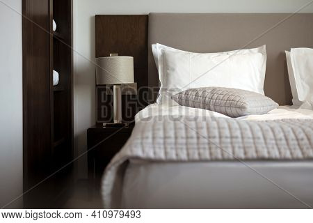 Room Bed, Pillows, Lamp And Blanket. Comfortable Bedroom Suite For Vacation Or Business Trip.