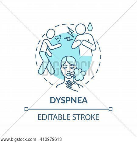 Dyspnea Concept Icon. Shortage Of Breath Idea Thin Line Illustration. Chest Tightness. Effects Of Il