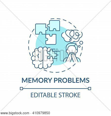 Memory Problems Concept Icon. Respiratory Disease Idea Thin Line Illustration. Effects After Infecti