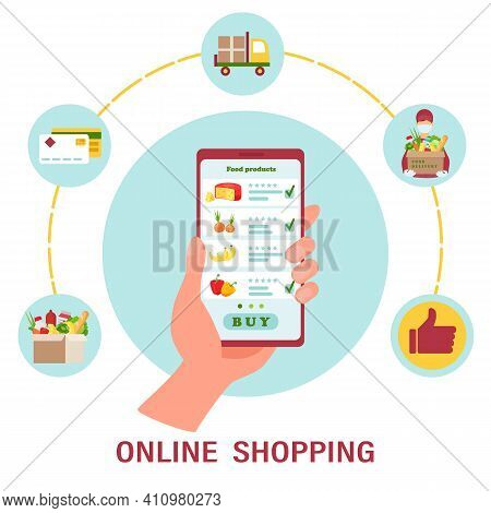Infographics Of Online Food Ordering And Delivery. Hand Holds Smartphone With  App For Online Orderi