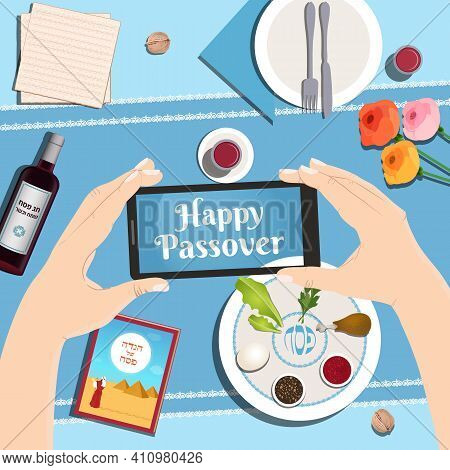 Passover Dinner Table With Traditional Plate, Matzo, Wine. Vector Illustration Background Top View W