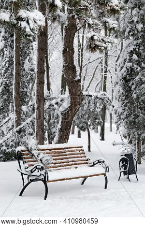 Bench In Park With Falling Fir And Pine Trees After Sleet Load And Heavy Snow At The Background. Sno