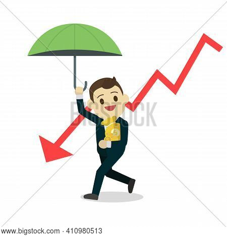 Businessman Protect Money From Down Stock.cartoon Business Man Holding Umbrella And Money Bag With D