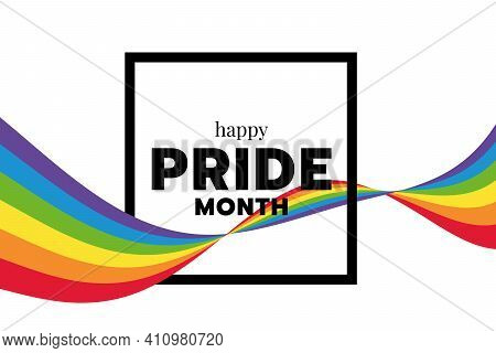 Happy Pride Month Text Word In Square Frame And Rainbow Flag Wave Around Vector Design