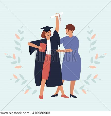 Mom Looks At Her Graduate Daughter With A Diploma And A Scroll. Girl In A Black Dress And A Graduati