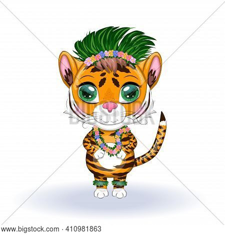 A Cute Cartoon Tiger With Beautiful Eyes In The Image Of A Hula Dancer. Hawaii, Summer, Islands And