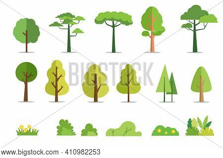 Trees And Bushes Set Flat Style Vector Illustration.cartoon Forest Tree.plant And Flowers.tree Isola