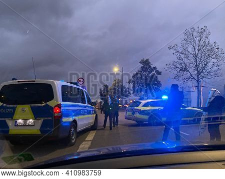 Kehl, Germany - Oct 16, 2020: View From The Car Of German Police Polizei Surveilling The Border Cros