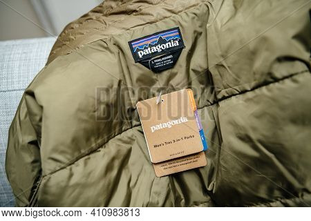 Lyon, France - Feb 16, 2021: Close-up Macro Shot Of New Parka Duvet Manufactured By Patagonia Model