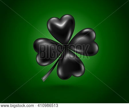 Glossy Black Clover Leaf, Dark Vector Illustration For St. Patrick Day. Isolated Four-leaf On Green