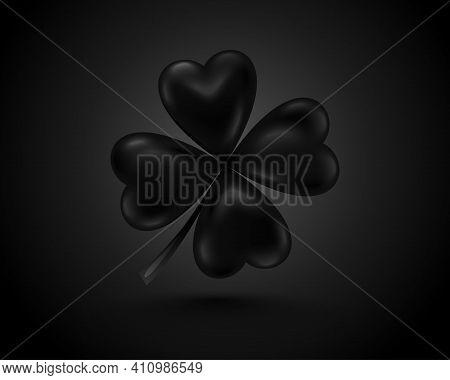 Glossy Black Clover Leaf, Dark Vector Illustration For St. Patrick Day. Isolated Four-leaf On Black
