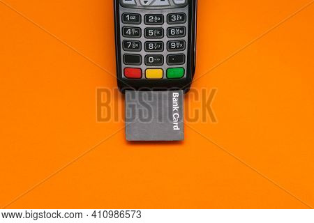Electronic Device For Accepting Payment Cards. Modern Pos Payment Terminal And Bank Card With Copy S