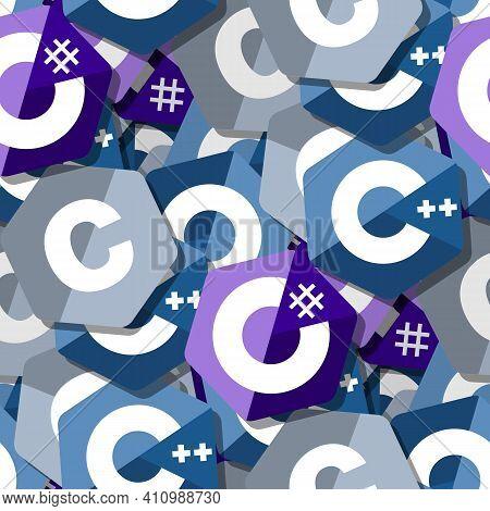 Seamless Pattern With C, C Sharp, C Plus Plus Emblems. The Three Useful Programming Languages.