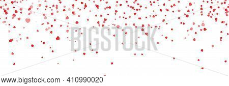 All You Need Is Love. Closeup View Of Confetti Hearts Of Red Color Against Pink Background. Vector I