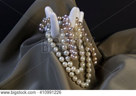 Necklaces Made From Beautiful White And Pink Pearls