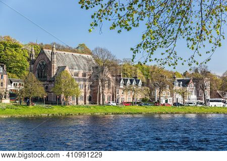 Inverness City With Street Of Historic Buildings Closed River Ness In Scotland, United Kingdom Of Gr