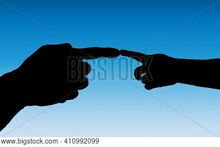 Vector Illustration Of A Symbol Of Mercy Silhouettes Of Hands Of An Adult And A Child Touching Foref