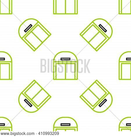 Line Aircraft Hangar Icon Isolated Seamless Pattern On White Background. Vector Illustration