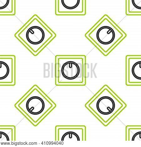 Line Electric Light Switch Icon Isolated Seamless Pattern On White Background. On And Off Icon. Dimm