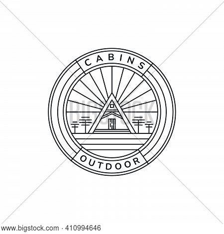 Cabin Home Minimalist Line Art Emblem Vintage Logo Icon Vector Illustration Template Design. Cottage