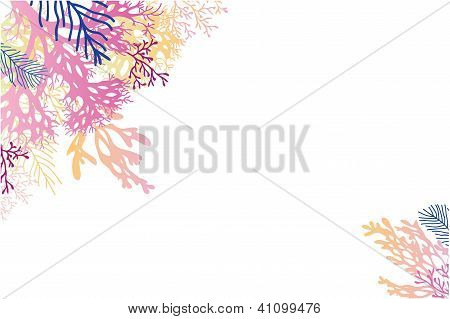 Vector abstract watercolor seaweed corner background  with hand drawn elements poster