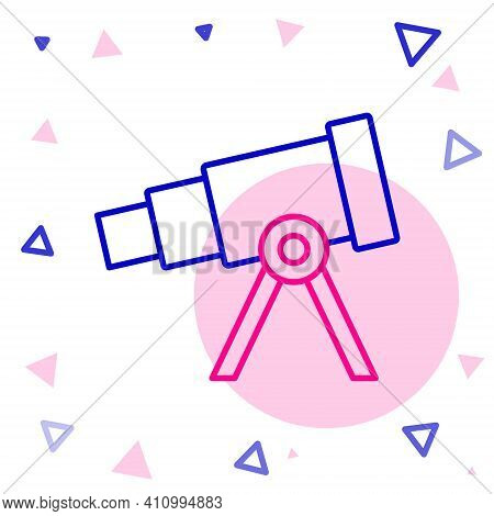 Line Telescope Icon Isolated On White Background. Scientific Tool. Education And Astronomy Element,