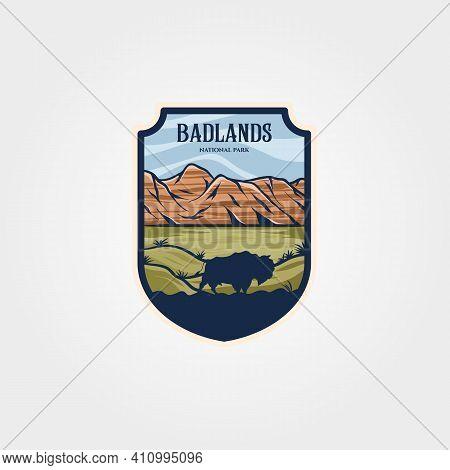 Badlands National Park Emblem Patch Vintage Vector Illustration Design, Travel Logo Collection Desig