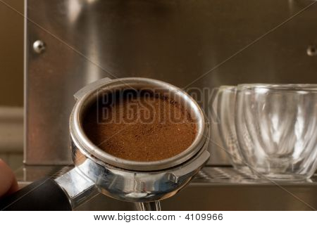 Espresso Filter With Ground Coffee