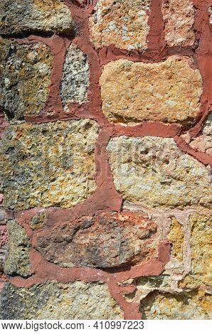 Stone Work Laced With Red Clay Mortar