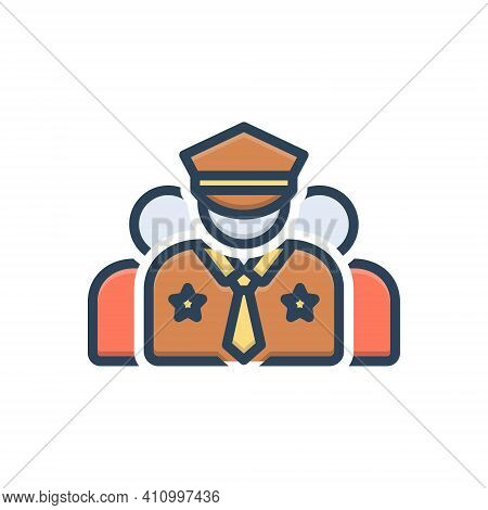 Color Illustration Icon For Crew Corps Team Gang Crew-member Captain Commander Police Man Policeman