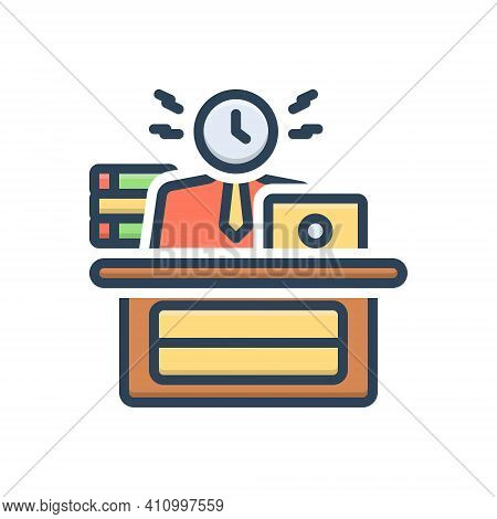 Color Illustration Icon For Busy Engaged Dissipated Working Active Laboring Diligent Employed At-wor