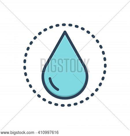 Color Illustration Icon For Drop Raindrop Liquid Pure Ripple Splash Aqua Droplet Water Oil Drinkable