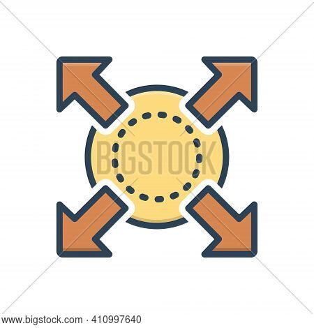 Color Illustration Icon For Extend Expand Enlarge Compact Compress Distend Fullscreen Develop Widen