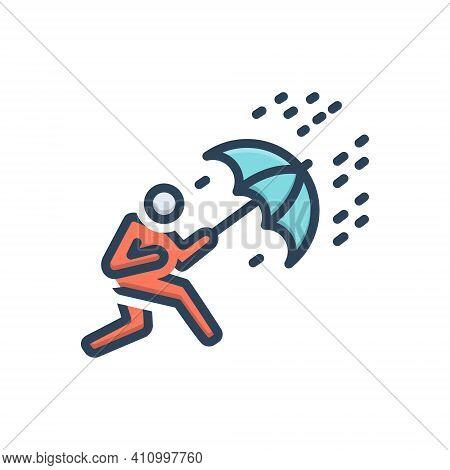 Color Illustration Icon For Crisis Trouble Menace Disaster Danger Scrape Deadlock Rain Umbrella Heav
