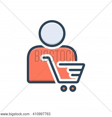 Color Illustration Icon For Customer Client Subscriber Consumer Cart Shopping Clientele Underwriter